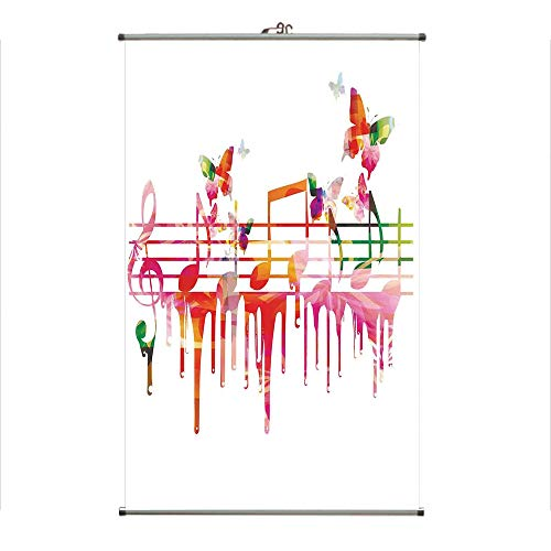 iPrint Wall Hanging Picture Wall Scroll Poster Fabric Painting,Music Notes Clef Composer Orchestra Decorative,3D Print Design Personality Customization Make Your Room unique23.6 X47.2 ()