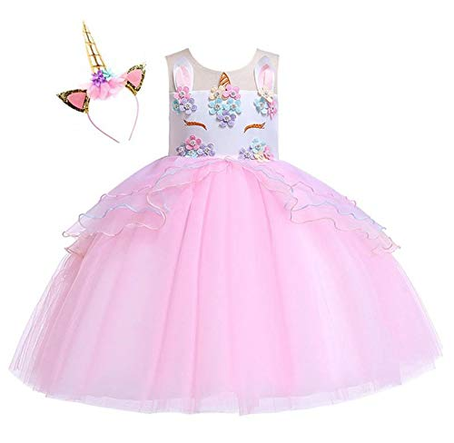 Kokowaii Fancy Girls Unicorn Dress up Fancy Costume for Pageant -