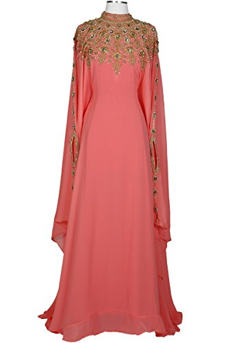 Covered Bliss Athena Kaftan for Women – Premium Design - 100% Chiffon with Eloquently Hidden Waist Strap -Elegant Ethnic Couture Long Sleeve Maxi Dress/Caftan with Alluringly Beautiful Gold Beads and