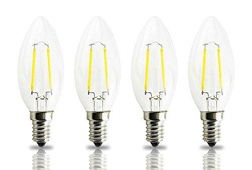 Lamsky LED Filament Candle Shape Light Bulb, E14 European Base Bulb,Warm White (European Light Bulb)