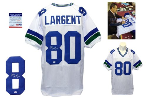 Signed Hand Largent Steve (Steve Largent Signed Custom Jersey - PSA/DNA - Autographed w/ Photo - White)