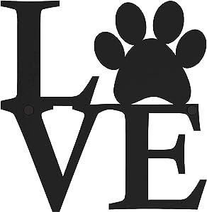 Love Wall Decor Dog Paw - Dog Decor - Indoor, Outdoor Wall Art & Dog Home Decor & Dog Wall Decor & Metal Wall Art For Living Room - 9.5