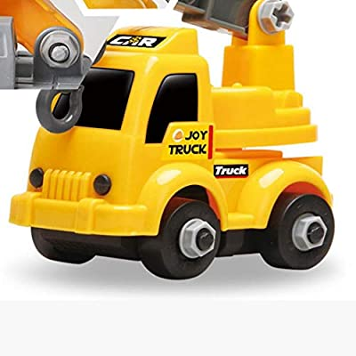 hiriyt Children Plastic Yellow Mini Excavator Assembled Engineering Car Toy Play Vehicles: Home & Kitchen