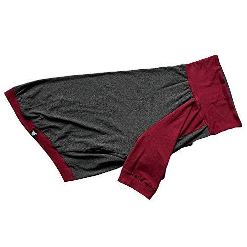 (Tooth & Honey Large Dog Clothes/Big Dog Clothing/Sun Shirt/Allergy Shirt/Lightweight Dog Shirt/Surgery Recovery Shirt/Pitbull Clothing/Dark red and Grey (Medium))
