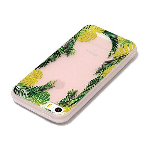 iPhone 5 5S Coque,3D Feuilles de noix de coco Premium Gel TPU Souple Silicone Transparent Clair Bumper Protection Housse Arrière Étui Pour Apple iPhone 5 5S / SE + Deux cadeau