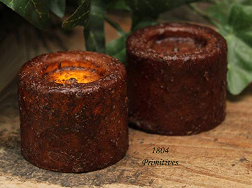 (Primitive & Country Style 2 Petite Burnt Mustard Waxed Votive Candles + 12 Extra Batteries Rustic Home Decor)