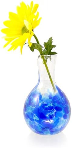 Modern Artisans Heart Bud Vase, American Hand-Blown Glass, 5 , Cobalt Blue Color