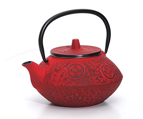 Guro Red Cast Iron Teapot 27 Ounces 0.8L Kettle Sigma