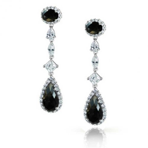 Bling Jewelry Simulated Onyx Teardrop CZ Long Drop Earrings Rhodium Plated Brass (Brass Ox Plated)