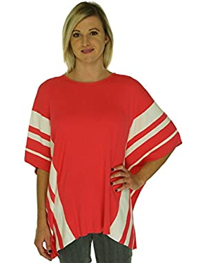 Calvin Klein Striped Cowl Neck Poncho