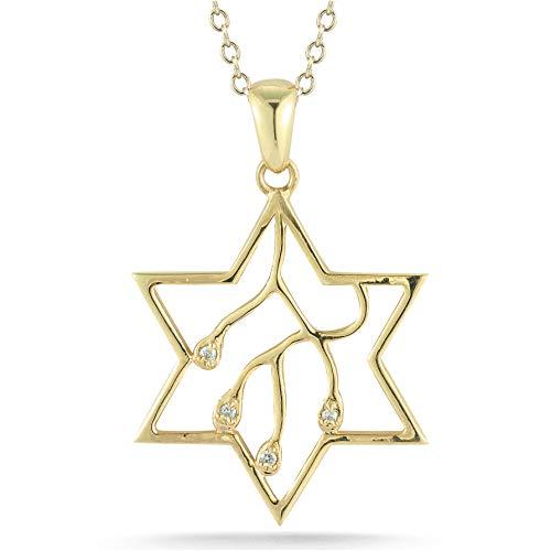 I REISS 14K Yellow Gold 0.03ct TDW White Diamond Star of David Judaica Pendant ()