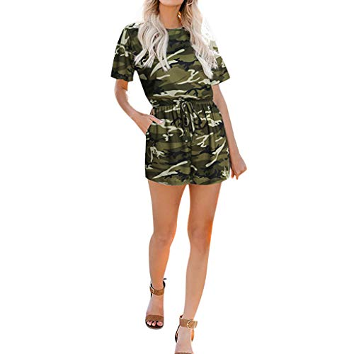 LEXUPA Womens Round Neck Playsuits Camouflage Short Sleeve Casual Short Rompers