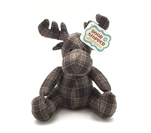 Rustic Moose Lovers Door Stopper: Adorable Weighted Plaid Animal Gift Home Lodge Motif Decoration
