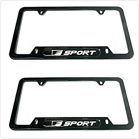 2 Black Auteal Car Stainless Steel Metal F Sport License Plate Tag Frame Cover Holders w//Caps Screws for Lexus F-Sport