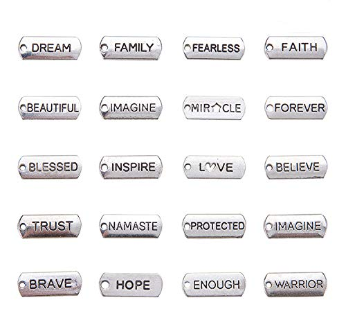 - Word Charms Pendants - Engraved Motivational Charms Collection for Jewelry Making, Fashion Accessories, DIY Necklaces, Bracelets, Bangles, Silver, 100-Pack