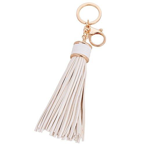 (BAOBAO Handmade PU Leather Tassel Pendant Keychain Car Bag Purse Keyring Key Holder)