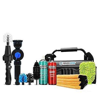 Image of Brush Hero Master Set Includes Brush Hero Starter, Soap Star, 3 Extra Brushes, Soap, Interior Spray, Microfiber, Utility Bag Car Wash Equipment