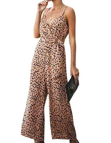 MYHALF Women's Sexy Spaghetti Strap Sleeveless Leopard Jumpsuits Wide Leg Long Pants Rompers Yellow