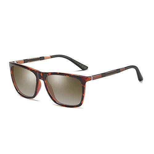 de Frame WS046 BVAGSS Gafas Classic Hombre Modelo Marco Lens metal Protección Vintage Polarizado De MG Gafas AL Sol Leopard UV400 Brown xA7gax