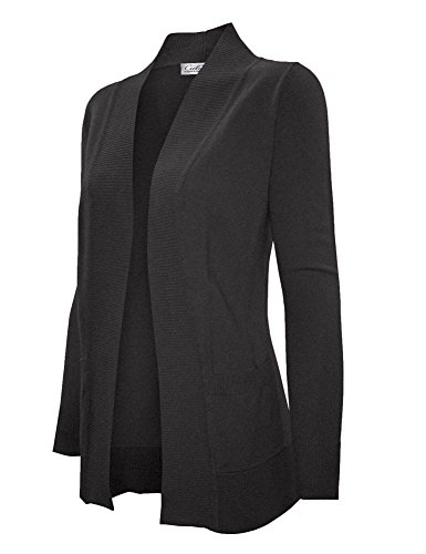 CIELO Women's Solid Basic Open Front Pockets Knit Sweater Cardigan Charcoal Grey 2XL