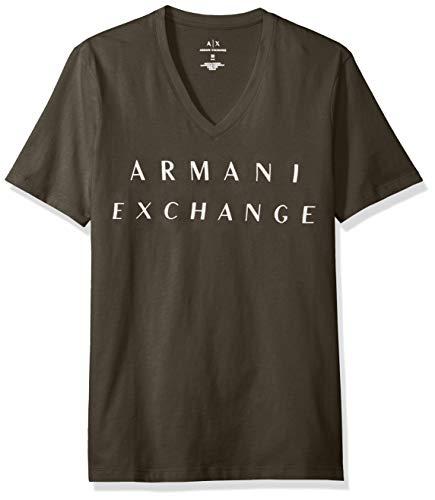 - A|X Armani Exchange Men's Basic Logo V Neck Tee, Military Green, M