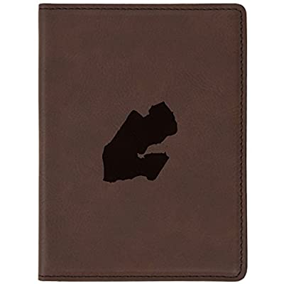 """d7adc59731e9 Djibouti Brown Leather Passport Holder - Laser Etched Design - 4 X 5.5""""  Engraved Passport"""