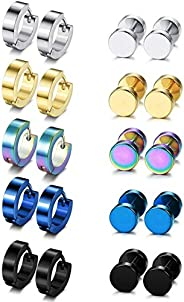Adramata 10 Pairs Men Hoop Stud Earrings Aretes Para Hombre Gauge Earring Set for Men Women Stainless Steel Co