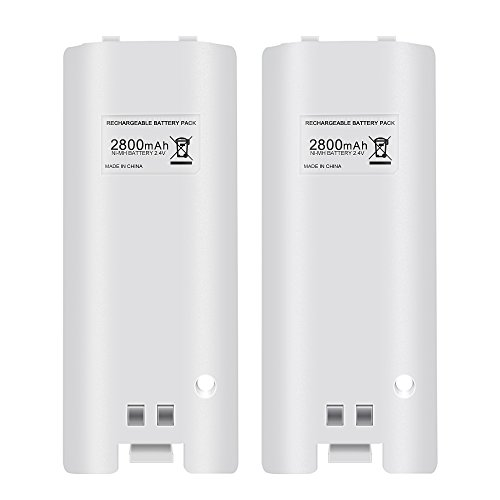Cosaux FM24 Rechargeable Battery Pack for Wii, 2pcs 2800mAh High Capacity Rechargeable Batteries Pack for Nintendo Wii Remote Controller - White