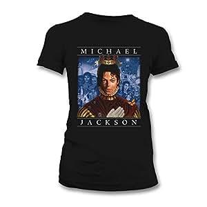 Bravado - Camiseta Mujer Michael Jackson: Retrospective, Color Negro, Talla S