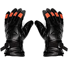 Onaprint Leather Protective Cycling Byke Motorcycle Gloves Black(LARGE)