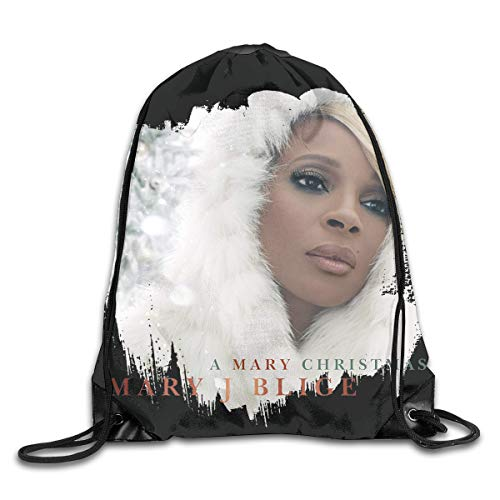 AlexisW Mary J Blige A Mary Christma Backpack Gymsack Drawstring Bags Sack Pack for Men & Women
