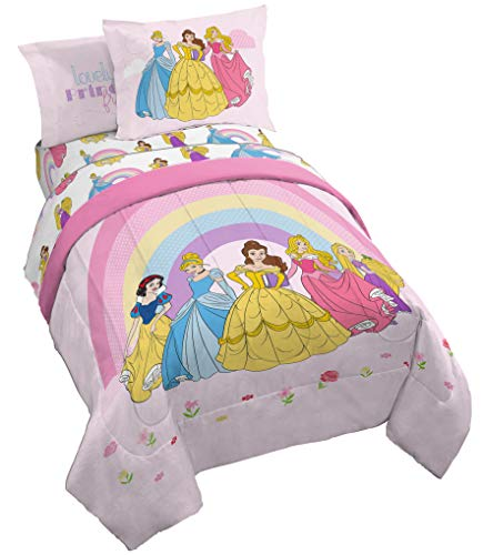 Jay Franco Disney Princess Rainbow 7 Piece Full Bed Set – Includes Comforter & Sheet Set – Bedding Features Aurora, Belle, Cinderella – Super Soft Fade Resistant Microfiber (Official Disney Product)