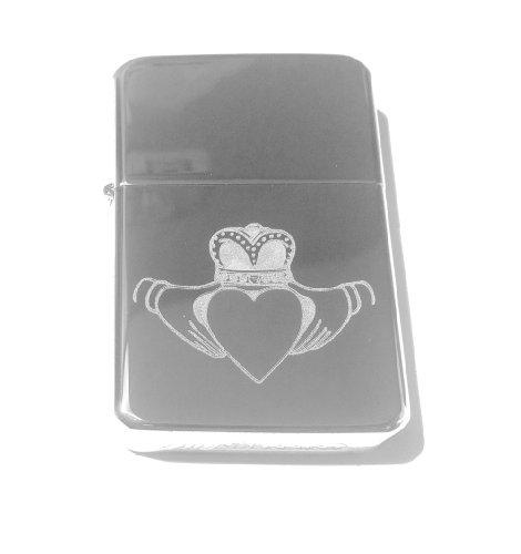 Vector KGM Thunderbird Custom Lighter - Irish Claddagh Ring Open Heart Love Logo Silver High Polish Chrome Rare!