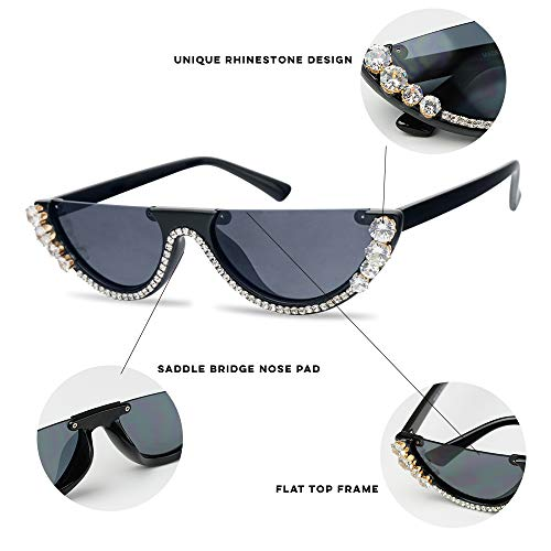 9d3ded77c4 SunglassUP Half Moon Diamond Studded Rhinestone Sunglasses Semi-Rimless  Embellished Cat Eye Clout Frame