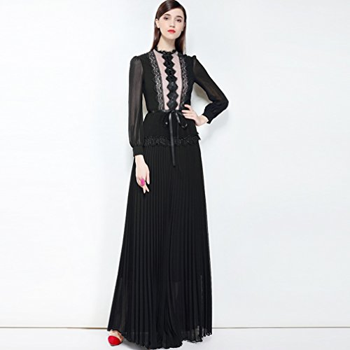 Solid Pleated Printed Color Women`s Dress cotyledon Dresses Collared Black Gown P6Rq1U