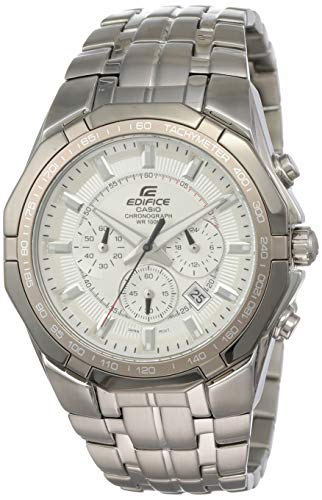Men's Stainless Steel Edifice White Dial Tachymeter Chronograph