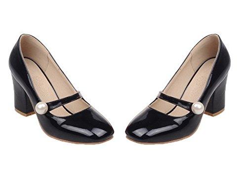 VogueZone009 Women's Square-Toe PU Solid Kitten-Heels Pumps-Shoes Black 0QNbkwtG82