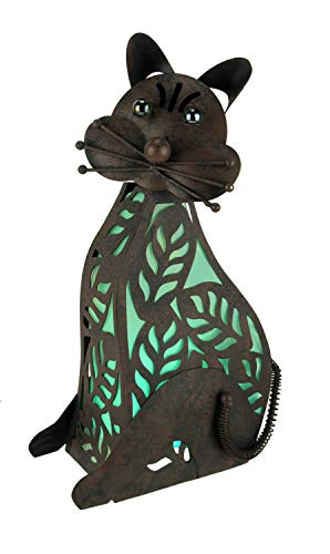 Gerson Brown Metalwork Dog or Cat LED Lighted Solar Statue