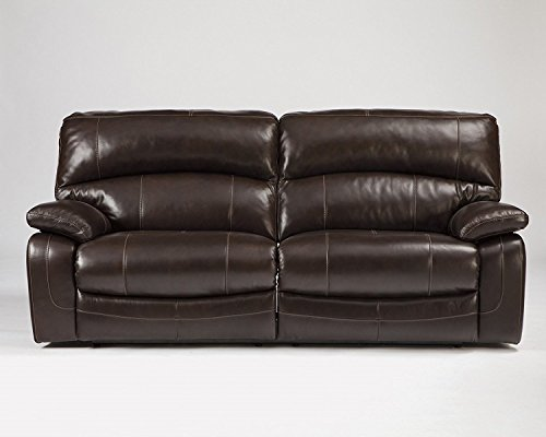 Ashley Furniture Signature Design - Damacio Manual Recliner Sofa - 1 Pull Reclining - Leather interior - Dark Brown
