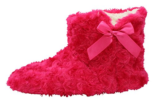 Enimay Dames Slipper Boots Lounge House Relaxed Schoenen Fuzzy Pluizig Zacht Hot Pink 3