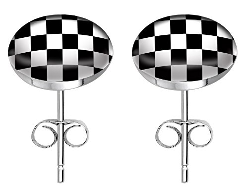 Stainless steel fashion stud earrings - Chequered -