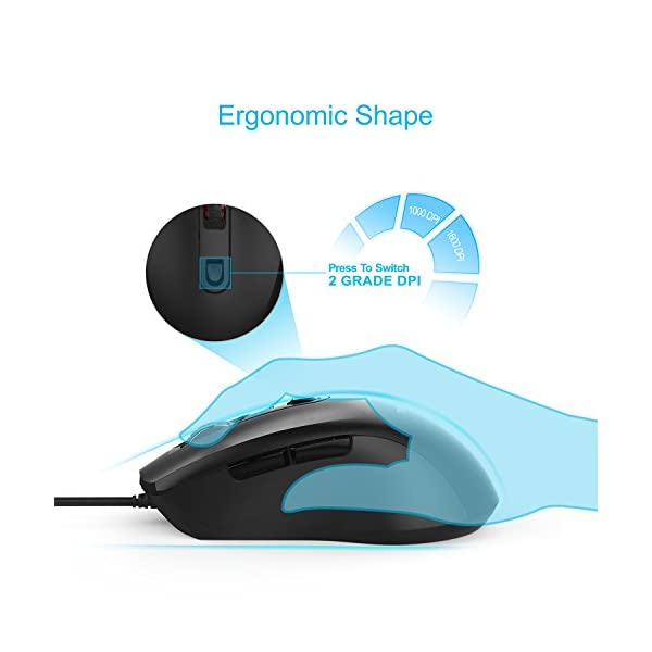 TeckNet 6-Button USB Wired Mouse Optical Computer Wired Mice 1000/1600 DPI, Office Business Mouse for Laptop Notebook…
