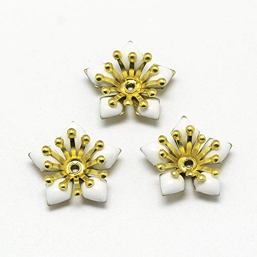 (Pandahall 10pcs Brass White Enamel Bead Caps 18x5mm More-Petal Flower Golden Bead Spacers for Jewelry Making Handmade Accessories Finding Supplies Hole: 1mm)