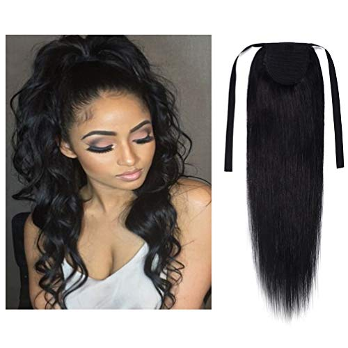 Tie Up Human Hair Ponytail Extensions Binding Remy Huamn Hair Drawstring for Women Clip in Ponytail Hairpiece Long Straight 20 Inch #01 Jet - Hair Human Drawstring
