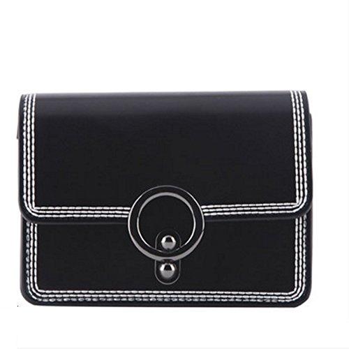 XiaYuan Bolso de Hombro Pequeño de la Señora Limpia Verano, Mini Bolsa de Mensajero Portátil del Hombro del Viaje Portátil, Bolso Coreano Multifuncional Personalizado (Color : Negro) Negro