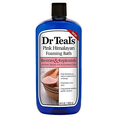 Dr Teal's Restore & Replenish Pure Epsom Salt & Essential Oils Pink Himalayan Foaming Bath 34 oz (Pack of 2) Dr. Teal's
