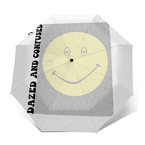 Dazed And Confused Film Script Silhouette Windproof Compact Auto Open And Close Folding Umbrella,Automatic Foldable Travel Parasol Umbrella