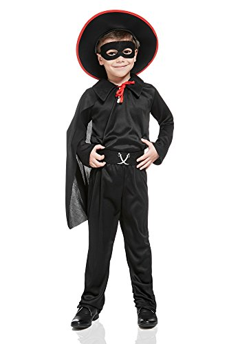 Kids Boys Bandido Costume Mexican Robber Outlaw Masked Hero Dress Up Role Play (8-11 years, Black/Red)