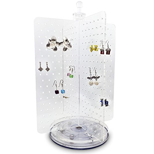 Ikee Design Acrylic 216 Pairs Rotating Jewelry & Earring Organizer/Spinning Jewelry Organizer for Hanging Earrings/Hanger Display Stand Rack/Earring Carousel