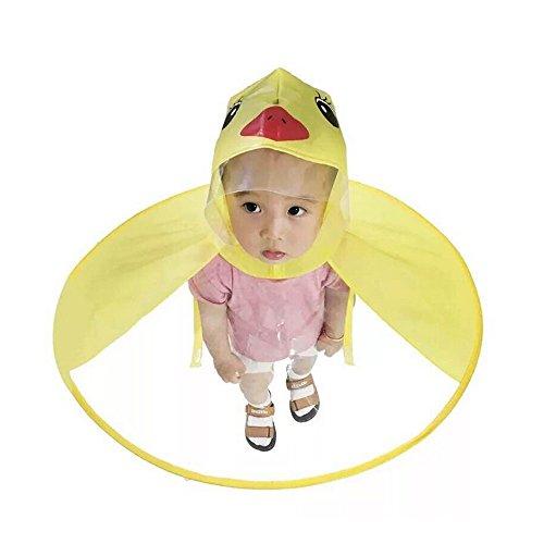 CreazyBee Age 2-6 Kids Raincoat Cartoon Yellow Duck UFO Raincoat Packable Children's Hooded Poncho Cloak (Yellow, S) (Ufo Pants Girl)